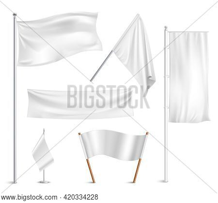 Various White Flags And Banners Pictograms Collection With Hoisted And Half-mast Lowered Positions A