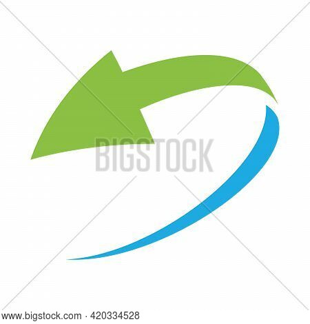 Loop Circle Arrow Icon. Abstract Symbol Of Refresh, Reload Or Recycle. Simple Flat Green And Blue Ve