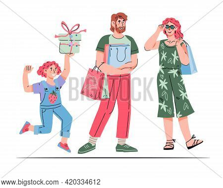 Happy Family And Children Shopping And Buying, Cartoon Vector Illustration Isolated On White Backgro