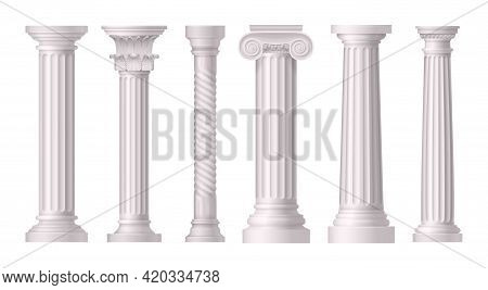Antique White Columns Realistic Icon Set With Different Styles Of Greek Architecrure Vector Illustra