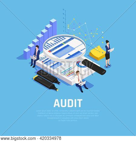 Accounting Isometric Composition With Charts Documentation And Human Characters During Audit On Blue
