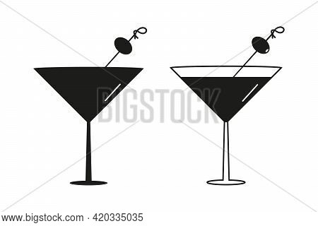 Couple Of Martini Cocktail Glasses Silhouettes. Martini Drink With Olives Vector Icons.