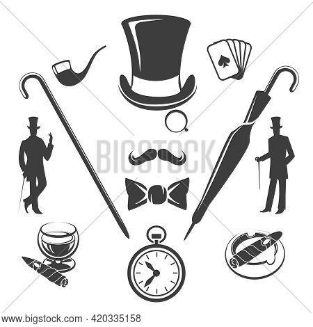 Vintage Gentlemen Symbols. Fashion Old Hipster, Glasses And Hat, Vector Illustration
