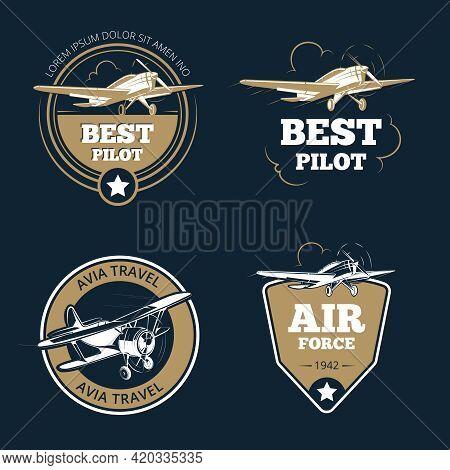 Aircraft And Air Transportation Labels. Air Tourism Vector Emblems. Emblem Aircraft, Flight Label Ad