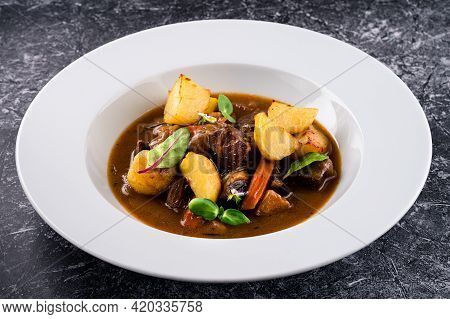 Irish Stew Or Guinness Stew Made In A Crockpot Or Slow Cooker.