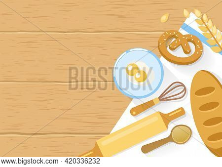 Baked Products And Cooking Tools Composition With Bagel Wheat Eggs In Bowl On Wooden Background Vect