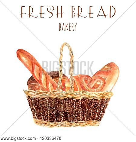 Bakery Bread Advertisement Poster With Vintage  Basket Full Fresh Wheat Round Loafs And Baguette Abs