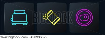 Set Line Toaster, Scrambled Eggs And Packet Of Pepper. Black Square Button. Vector