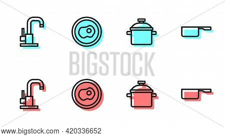 Set Line Cooking Pot, Water Tap, Scrambled Eggs And Saucepan Icon. Vector