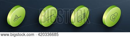 Set Isometric Line Frying Pan, Saucepan, Microwave Oven And Chef Hat Icon. Vector