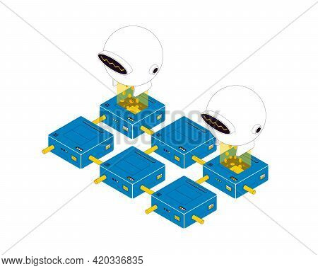 Blockchain Technology. Bitcoin Mining Isometric Composition. Blockchain And Cryptocurrency On White