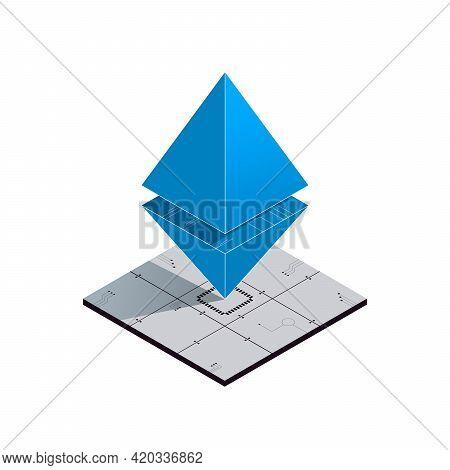 Ethereum Isometric Logo. Cryptocurrency Concept Illustration. Ethereum Symbol On White Background. V