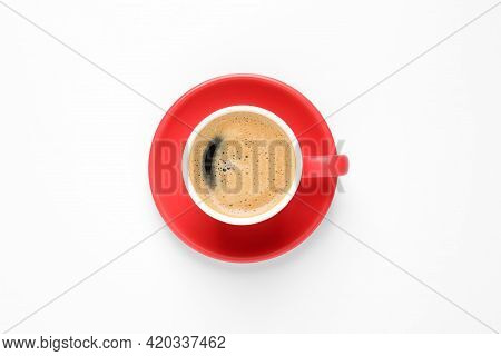 Aromatic Coffee In Red Cup On White Background, Top View