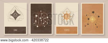 Abstract Art With Zodiac Celestial Sign And Constellation. Scorpio Or Scorpion, Libra Or Balance. Wa