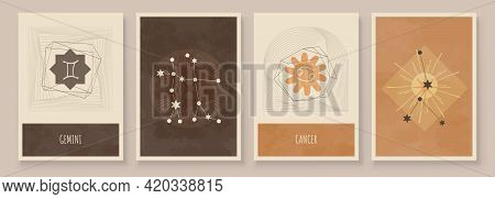 Abstract Art With Zodiac Celestial Sign And Constellation. Cancer As Crab, Gemini As Twins. Wall Art