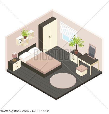 3d Isometric Bedroom Interior With Newly Renovated In Volumetric Style And Minimalist Style Vector I