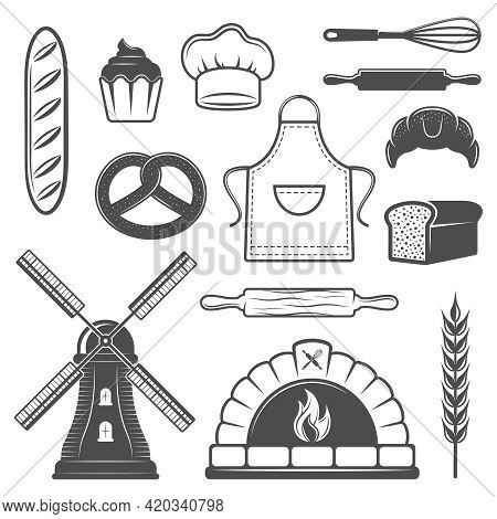 Bakery Monochrome Elements Set With Bread And Pastry Oven Culinary Tools Mill And Wheat Isolated Vec