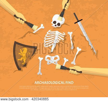 Archaeological Site Discovery Poster With New Unearthed Finds Medieval Knight Remnants On Sand Backg