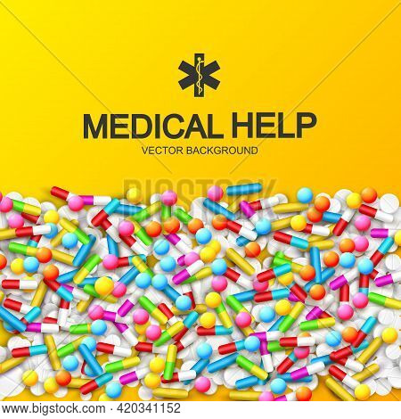 Abstract Healthy Medical Background With Colorful Capsules Remedies Pills And Drugs Vector Illustrat