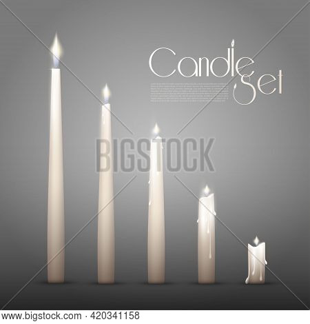 Aromatic Burning Candles Animation Set In Realistic Style On Gray Background Isolated Vector Illustr