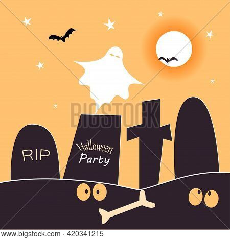 Halloween Party Card Template. Abstract Helloween Scary Ghost And Graves In The Cemetery For Greetin