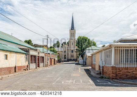 Richmond, South Africa - April 2, 2021: A Street Scene, With Historic Dutch Reformed Church And Othe