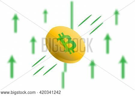 Bitcoin Up. Green Arrow Up With Gaussian Blur Effect Background. Bitcoin Market Price Soaring. Green