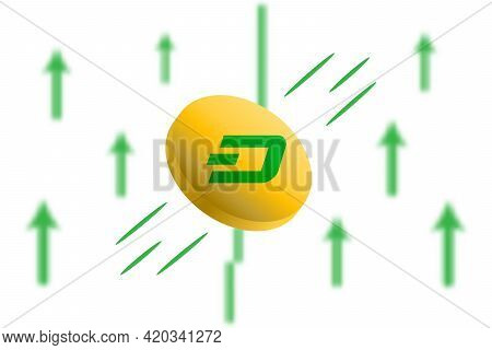 Dash Coin Up. Green Arrow Up With Gaussian Blur Effect Background. Dash Market Price Soaring. Green