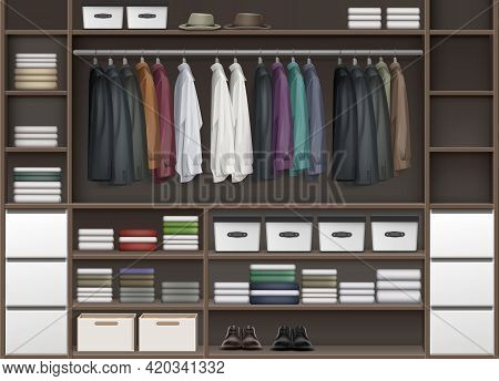 Vector Brown Cloakroom Closet With Shelves Full Of Boxes And Clothes Shirts, Boots, Shoes And Hats F