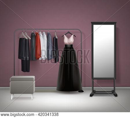 Vector Cloakroom Interior Mirror, Pouf, Black Metal Clothes Rack With Dress, Trousers, Pants And Shi