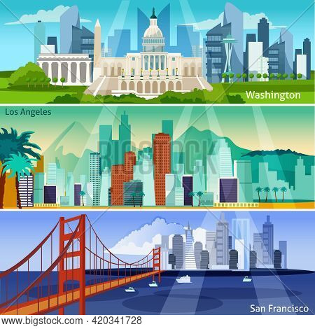 American Cityscapes Flat Concept. Usa Sights Horizontal Banners. Us Cities Vector Illustration. Amer