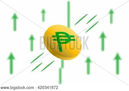 Peso Digital Money Up. Green Arrow Up With Gaussian Blur Effect Background. Peso Market Price Soarin