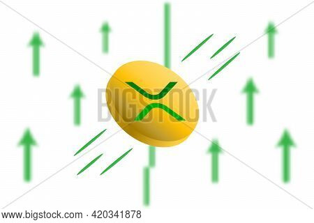 Ripple Coin Up. Green Arrow Up With Gaussian Blur Effect Background. Ripple Xrp Market Price Soaring