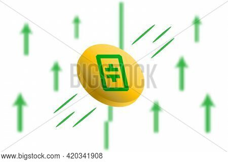 Theta Coin Up. Green Arrow Up With Gaussian Blur Effect Background. Theta Xtz Market Price Soaring.