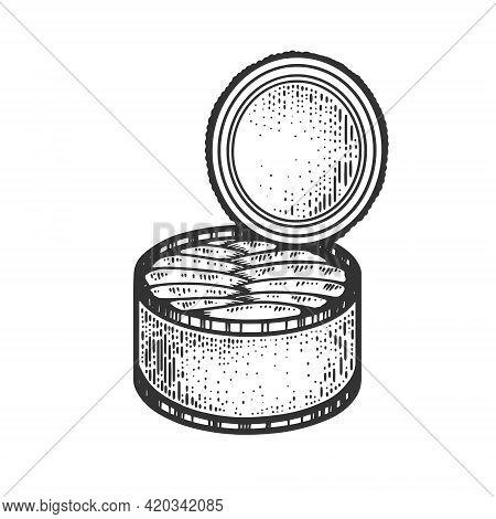 Canned Fish Sketch Engraving Vector Illustration. T-shirt Apparel Print Design. Scratch Board Imitat