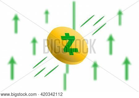 Zcash Coin Up. Green Arrow Up With Gaussian Blur Effect Background. Zcash Market Price Soaring. Gree