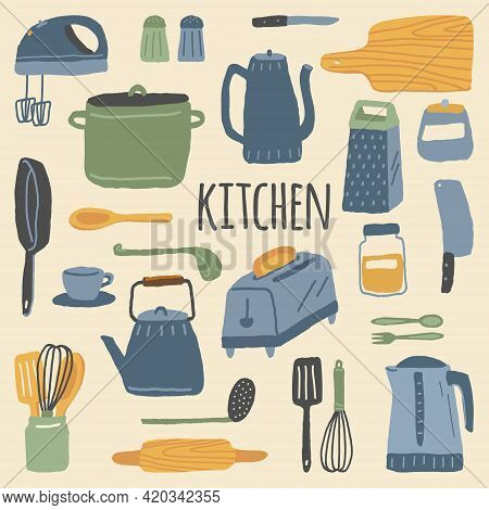 Vector Set Of Kitchen Appliances, Kitchenware And Cookware. Home Kitchen Utensils For Cooking Isolat