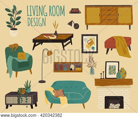 Vector Set Of Living Room Accessories And Furniture. Home Modern Interior Design Elements. Hand Draw