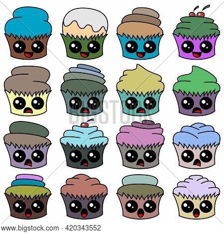 A Set Of Cartoon Cupcakes With A Face. A Set Designed For Websites, Restaurant Menus, Flyers, Etc. V