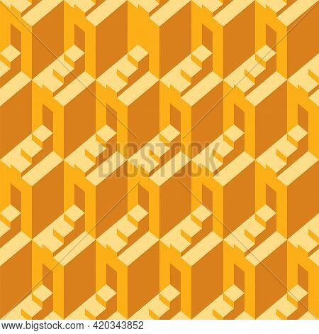 Yellow Seamless Pattern With Architectural Elements. Op Art. Monochrome Vector Texture With Cubic 3d