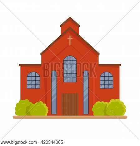 Huge Old Brick Christian Church Isolated On White. Catholic Religious Place Or Monastery With Cross.