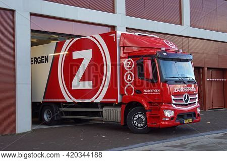 Amsterdam, The Netherland - Januari 23, 2021: Jan Zandbergen Transport Truck At A Loading Dock. Nobo