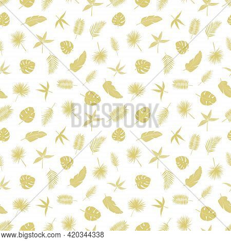 Seamless Pattern Of Gold Tropical Leaves, Vector Illustration Leafs Of Areca Palm, Philodendron, Mon