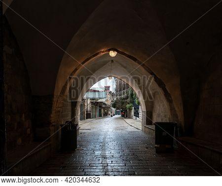 Deserted Muristan Street Due To Coronavirus, In The Old City Of Jerusalem, Israel