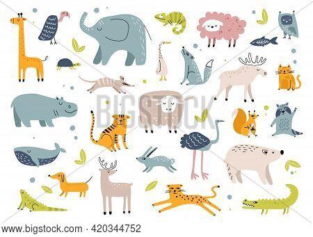 Scandinavian Animals. Cute Rabbit, Elephant, Turtle, Tiger, Owl, Crocodile. Childish Hand Drawn Anim