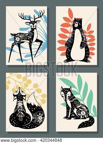 Animals Posters. Scandinavian Style Modern Forest Fox, Bear And Wolf, Deer. Scandi, Finnish Folk Flo