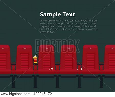 Vector Cinema Chairs Poster With Sample Text In Flat Style. Theater Event And Auditorium, Show And P