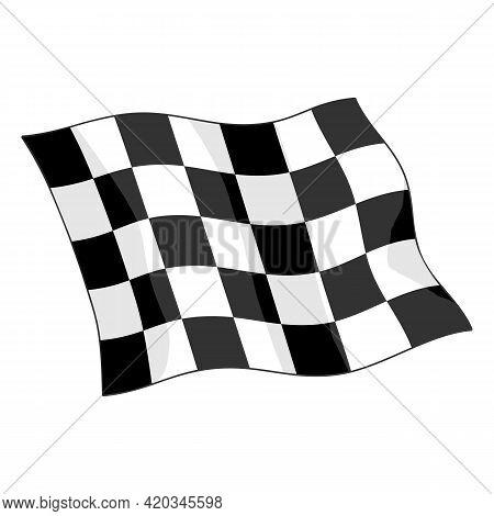 Checkered Motorsports Waving Flag Isolated Vector Illustration