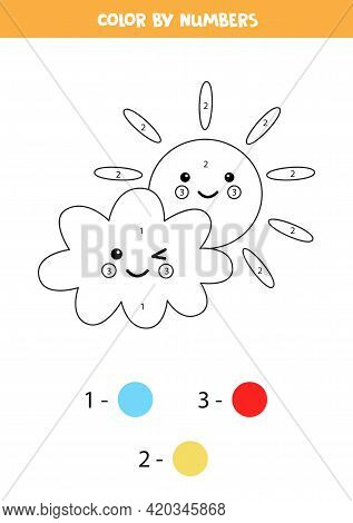 Color Cute Kawaii Cloud With Sun By Numbers. Worksheet For Kids.