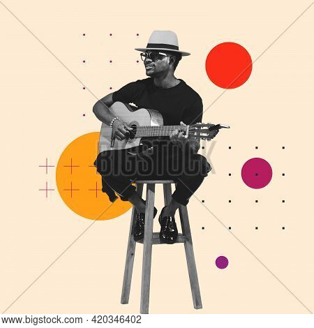 Contemporary Art Collage, Modern Design. Retro Style. Stylish Performer Playing Guitar On Pastel Col